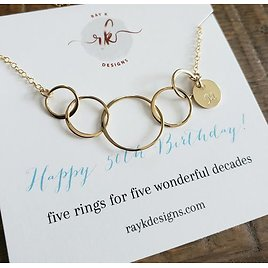 50th Birthday Gift for Women, Initial 5 Rings Necklace, 50th Birthday Necklace, 50 Year Old Aunt, Personalized 50th Birthday Friend Gift