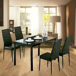 Family 5 Piece Dining Table Set 4 Chairs Glass Metal Kitchen Room Breakfast
