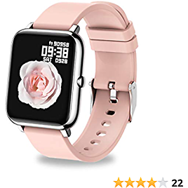 UWINMO Smart Watch for Android and IOS Phones , Sports Smart Watch with Blood Pressure & Heart Rate Monitoring , Sleep Monitor,Pedometer with Message Notification , Smart Watch for Men & Women(Pink)