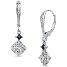 Vera Wang Love Collection 1/2 CT. T.W. Princess-Cut Diamond and Blue Sapphire Drop Earrings in 14K White Gold