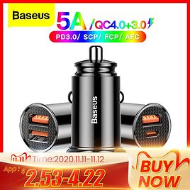 35% OFF|Baseus USB Car Charger Quick Charge 4.0 3.0 QC4.0 QC3.0 QC SCP 5A Type C 30W Fast Car USB Charger For IPhone
