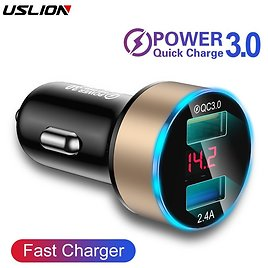 |USLION Quick Car Charger For Mobile Phone Universal Dual Usb Adapter For IPhone 11 Pro Max Mini Adapter
