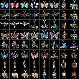 Fashion Women Crystal Butterfly Horse Animal Pendant Necklace Chain Jewelry Gift