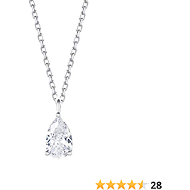 Carleen 18K White Gold Plated 925 Sterling Silver Solitaire CZ Cubic Zirconia Dainty Pendant Necklace for Women Girls with 16+2 Inch Silver Chain