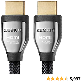 Zeskit Cinema Plus High Speed 22.28Gbps HDMI 2.0b Cable 6.5ft, 4K 60Hz HDR10 ARC 4:4:4 HDCP 2.2 | 28AWG Compatible with Dolby Vision Xbox PS4 Pro Apple TV 4K Roku Fire TV Switch Vizio Sony LG Samsung
