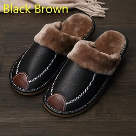 45% OFF|Men Slippers Black New Winter PU Leather Slippers Warm Indoor Slipper Waterproof Home House Shoes Men