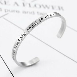 """'she Believed She Could So She Did"""" Stainless Steel Letter Cuff Bangle Bracelet"""