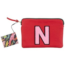 Personalised Small Classic Leather Clutch Bag - Red / Pink By Laines London