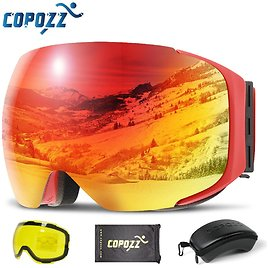 36% OFF|COPOZZ Magnetic Ski Goggles with Quick Change Lens and Case Set 100% UV400 Protection Anti Fog Snowboard