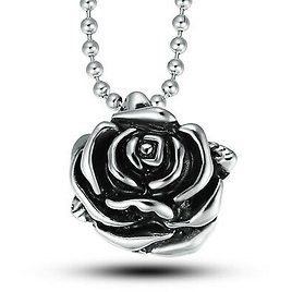 Fashion Stainless Steel Silver Charm Flower Chain Pendant Necklace For Women Men
