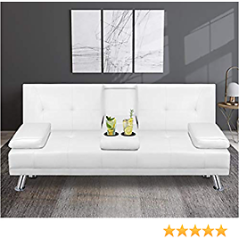 Shintenchi Modern Faux Leather Futon Sofa Bed, Convertible Folding Couch Sleeper for Living Room with Removable Armrests,2 Cup Holders, White