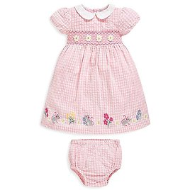 Pale Pink Gingham Embroidered Mouse Dress & Diaper Cover - Newborn, Infant, Toddler & Girls