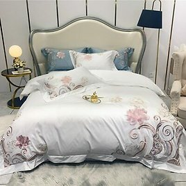 Embroidery Blossom Duvet Cover Egyptian Cotton Bedding Set Queen King Bed Sheet