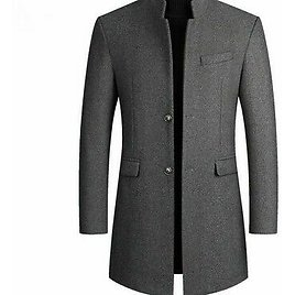 Men Winter Wool Coats Jacket Thick Smart-Casual Single Breasted Clothing Jackets