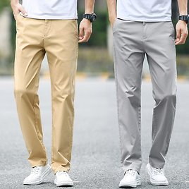 US $17.55 52% OFF|2020 Summer New Men's Thin Cotton Khaki Casual Pants Business Solid Color Stretch Trousers Brand Male Gray Plus Size 40 42 44|Casual Pants| - AliExpress