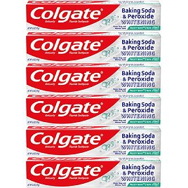 6-Pack Colgate Peroxide and Baking Soda Toothpaste with Fluoride for Teeth Whitening and Stain Removal, Frosty Mint
