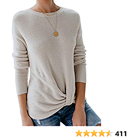 Yidarton Women's Pullover Sweaters Cute Front Twist Knot Crewneck Long Sleeve Solid Loose Knit Warm Sweater Tops
