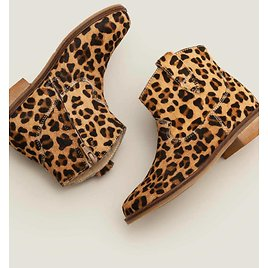Leather Western Boots - Tan Leopard