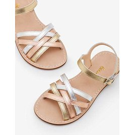 Leather Strappy Sandals - Gold Metallic   Boden US