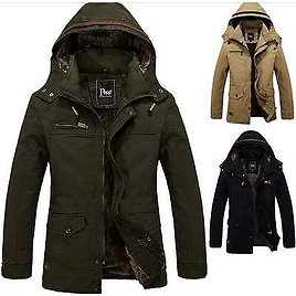Winter Mens Military Padded Trench Coat Ski Jacket Hooded Parka Thick Cotton