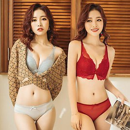 Intimates Sexy Bra Front Closure Bra Briefs Lace Gather Lingerie Push Up Bra Red