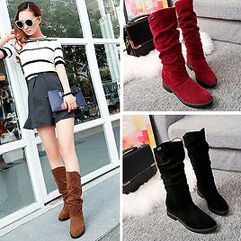 Women Ladies Winter Snow Boots Work Flat Bottom Shoes Mid Calf Suede Long Boot