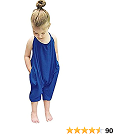 Kidsform Baby Girls Straps Rompers Harem Jumpsuits with Pockets Size 2-6Y