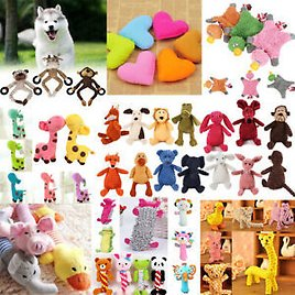 Pet Chew Toy Dog Puppy Squeaker Squeaky Soft Cute Plush Play Sound Teeth Toys