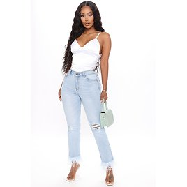 How'd You Get So Fly Feather Jeans - Light Blue Wash