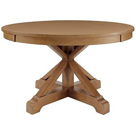 Home Decorators Collection Aberwood Patina Oak Finish Wood Round Dining Table for 4