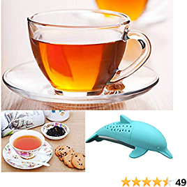 Dolphin Tea Infuser Tea Filter Cute Animal Loose Leaf Tea Infuser Tea Strainer Silicone Tea Strainer for Tea Lovers 4-pack Perfect Tea Balls Filter for More Enjoyable Tea Times with Friends and Family