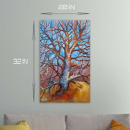 ORIGINAL Handmade STRETCED Canvas Tree Painting Oil Impressionism Wall Art 32 In