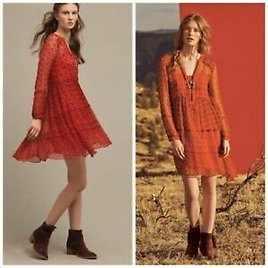 Anthropologie Maeve Canna Swing Dress Printed Cocktail Morning Red Tunic XXSP 00