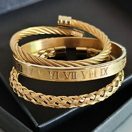 Luxury Stainless Steel Roman Numeral Cuff Bangle Twisted Cable Wire Bangle Men