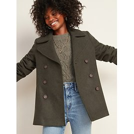 Soft-Brushed Peacoat for Women Ash