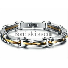 """Two Tone Stainless Steel Men's Chain Link Bracelet Wristband Cuff Bangle 8.66"""""""