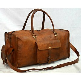 Men Leather Travel Bag Duffle Gym Vintage Luggage Overnight Weekend Gift For Him