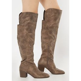 Taupe Block Heel Over The Knee Boots