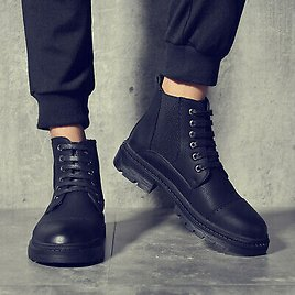 2020 Men Shoes Split Leather Autumn Winter Fashion Ankle Boots with Thick Soles