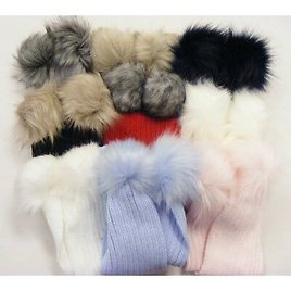 Winter Stunning Baby Ribbed Scarf with Mega Faux Fur Poms One Supplied