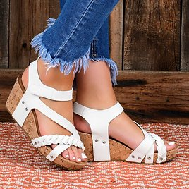 Braided Crossover Wedge Sandals