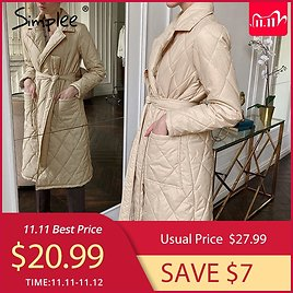 Simplee Long Straight Winter Coat with Rhombus Pattern Casual Sashes