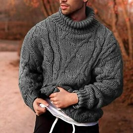 Turtleneck Thick Knitted Pullover Men Casual Winter Knitwear Sweater Jumper Tops