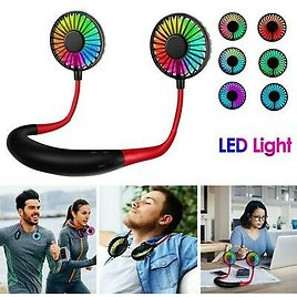LED Portable USB Rechargeable Neckband Lazy Neck Hanging Dual Cooling Mini Fan B