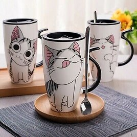 Coffee Cup With Lid And Spoon Cartoon Cat Milk Tea Cup Novelty Gift Ceramic Mug