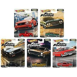 Hot Wheels Premium Fast & Furious Motor City Muscle Set of 5 Vehicles GBW75