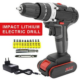 25V Cordless Electric Screwdriver Bit Drill Handheld Rechargeable Battery Kit 696584254276