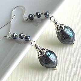 Faceted Peacock Pearl Earrings - Sterling Silver, Blue Pearl Earrings, Pearl Jewelry, Gift for Woman, Birthday, Special Occasion, Statement
