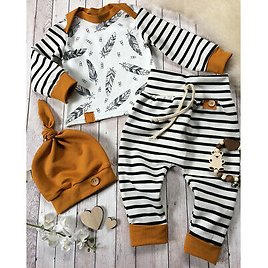 New Newborn Baby Boy Girl Feather T Shirt Tops Striped Pants Clothes Outfits Set