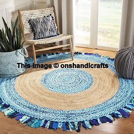 Indian Hand Braided Bohemian Colorful Cotton Chindi Area Rug Multi Colors Home Decor Rugs Cotton Jute Area Rugs Floor Rug Circle Rug 3 Feet